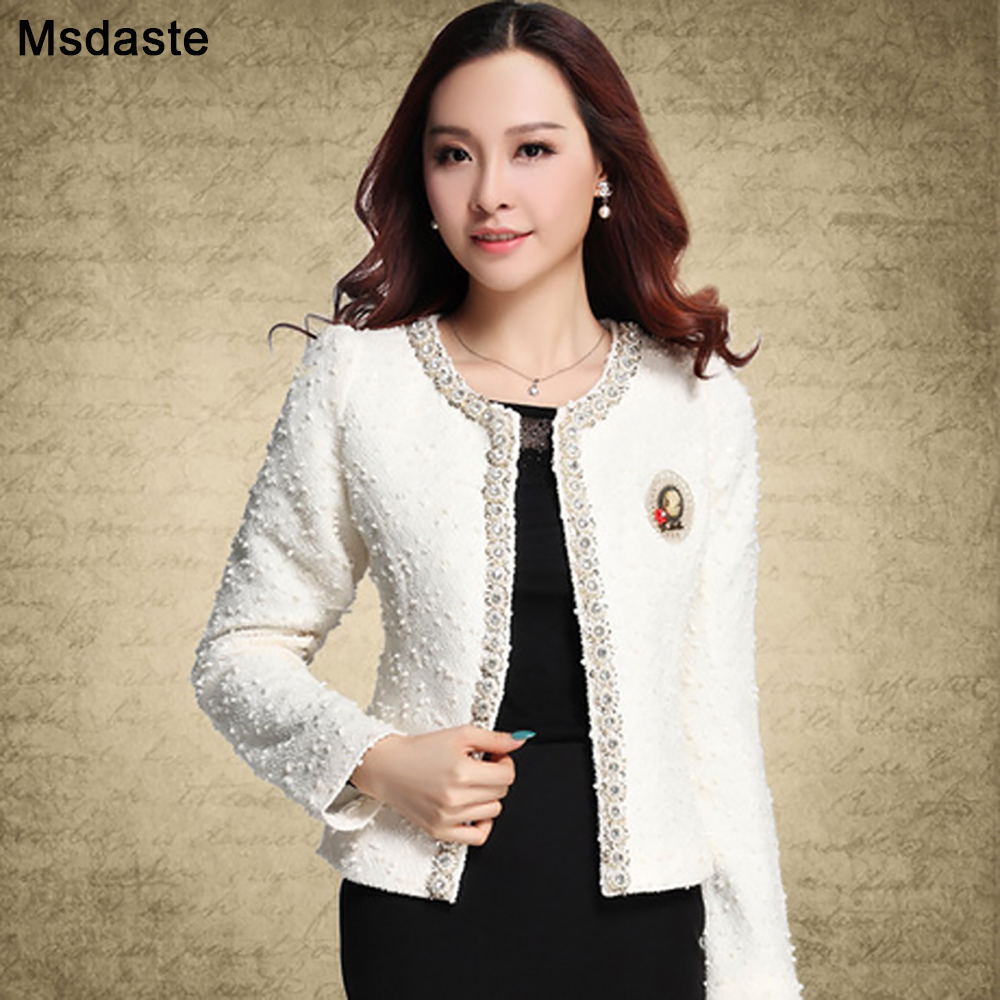 Blazer For Women Coats 2019 Autumn Vintage Diamonds Feminino Jackets Formal Lady Suit Office Work Wear Top Cardigans White,Black