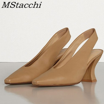 MStacchi  New Style Concise Sandals Fashion Pointed Toe Genuine Leather Chunky Heels Women Shoes Slingbacks Formal Shoes Women
