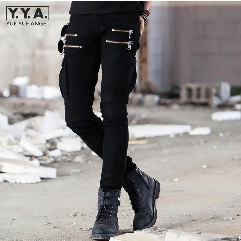 New Mens Slim Fit Casual Trousers Pleated Cargo Jeans Denim Overall Skinny Pants Military Fitness Overall Pants Trousers Homme