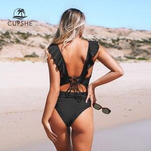 Image 3 - Cupshe sólido preto babados maiô de uma peça feminina sexy rendas até monokini banho 2020 menina praia fatos de banho