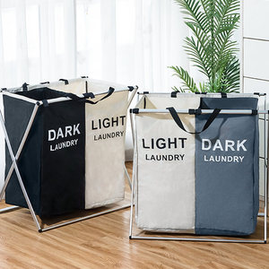 Image 5 - X Shape Foldable Dirty Laundry Basket Organizer Printed Collapsible Three Grid Home Laundry Hamper Sorter Laundry Basket Large