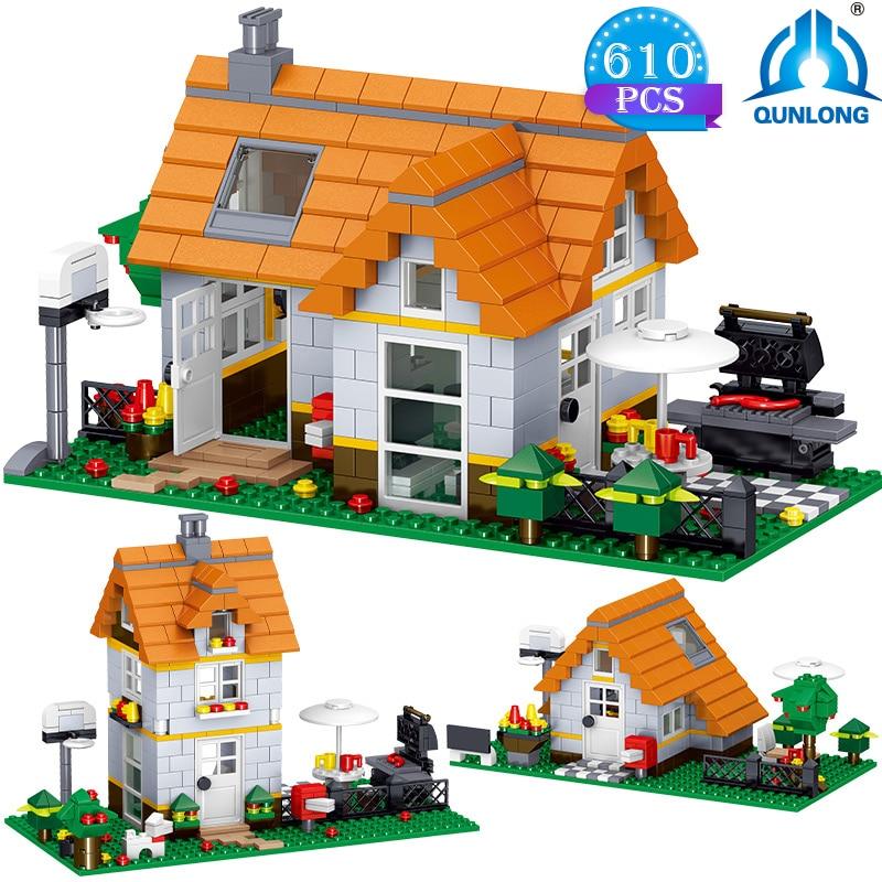 Toys Cube World Building-Blocks House Static-Model High-Tech Street-View Children's Adult