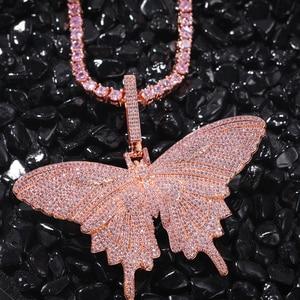 Image 3 - Uwin Monarch Butterfly różowy Rosegold CZ wisiorek z 9mm 12mm CZ kubański łańcuch Micro Pave Cubic naszyjnik cyrkoniowy biżuteria na prezent