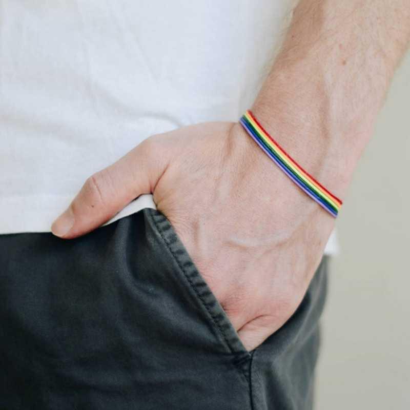 LGBT Pelangi Gelang untuk Pria Wanita Warna-warni Persahabatan Gelang Sederhana Kasual Olahraga Pergelangan Tangan Jaringan Orang Dewasa Perhiasan