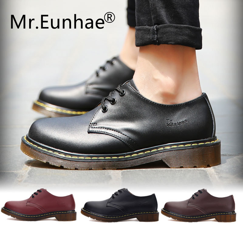 Men Women Couple Shoes Genuine Leather Round Toe Lace Up Flat Heel Shallow Ankle Boots Dr Classic Martins Boots Casual Fall Boot-in Ankle Boots from Shoes
