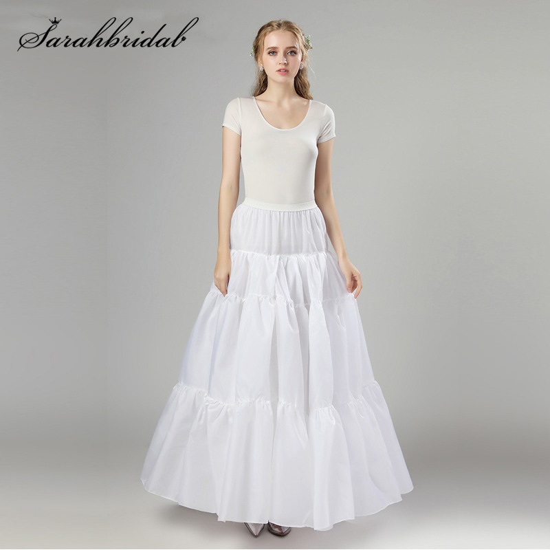 In Stock White Long Style Petticoat Organza Christmas Halloween Real Photos Tutu Skirts Wedding Cosplay Underskirt Slip 12006