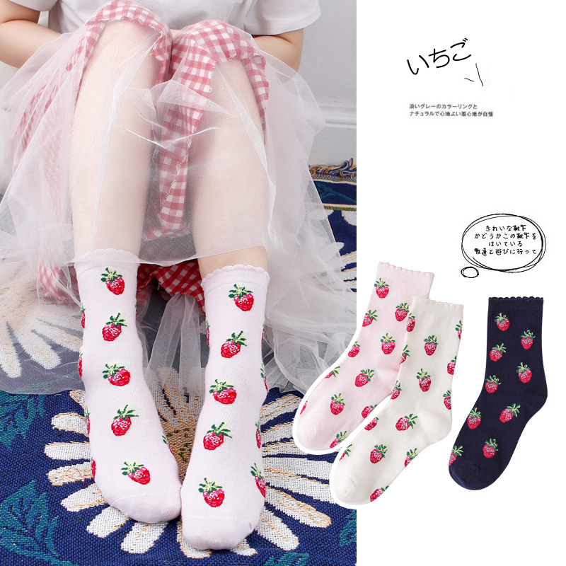 Japanese Cotton Socks Mid Tube Strawberry Socks Lolita Socks Bubble Mouth Lace Socks