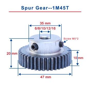 1 unidad 1M45T tamaño del diámetro engranaje recto 6/8/10/12/16mm engranaje del Motor Material de acero bajo en carbono engranaje de Metal de alta calidad para Motor