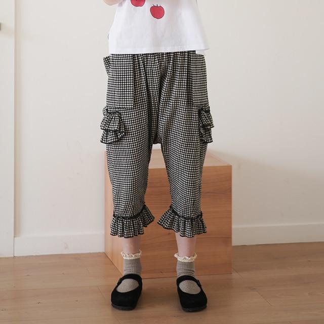 imakokoni niche design original Japanese high waist lattice turnip cropped pants female summer thin 192643