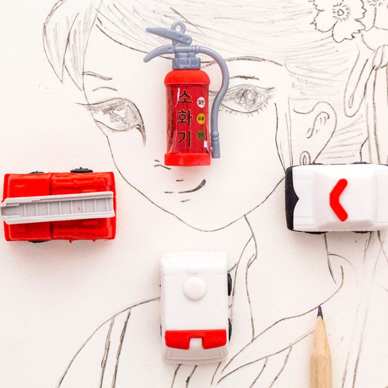 4pcs/set Fire Truck Extinguisher Rubber Eraser Kawaii Stationery School Supplies Correction Student Kids Gifts L41E
