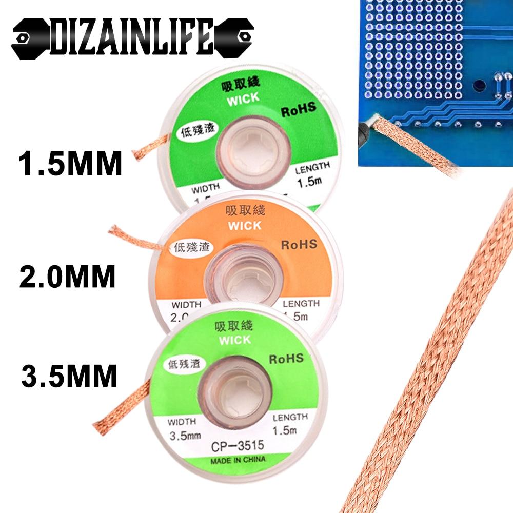 1.5mm 2mm 3.5mm Width 1.5M Length Solder Wire Desoldering Braid Welding Solder Remover Wick Wire Lead Cord Flux BGA Repair Tool