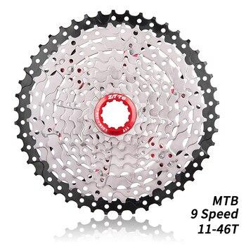 Cassette de 9 velocidades para bicicleta de montaña piñón libre amplio de 11-46T, Piñón Flywheel Compatible con Sunrace