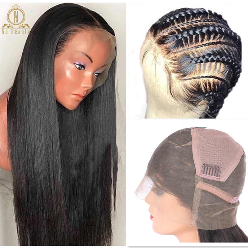 Full Lace Human Hair Wigs Pre Plucked With Baby Hair Glueless Full Lace Wig 100% Human Hair Remy Black Straight Wigs For Women