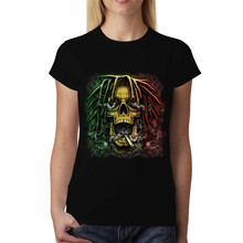 Rasta Schedel Dreadlocks Rook Womens T-shirt Xs-3Xl Volslanke Tee Shirt(China)