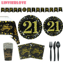 LINVIERLOVE Happy 21st Black Pink Gold Party Set For Wedding Birthday Paper Cup Plate Disposable Tableware Decor Supplies