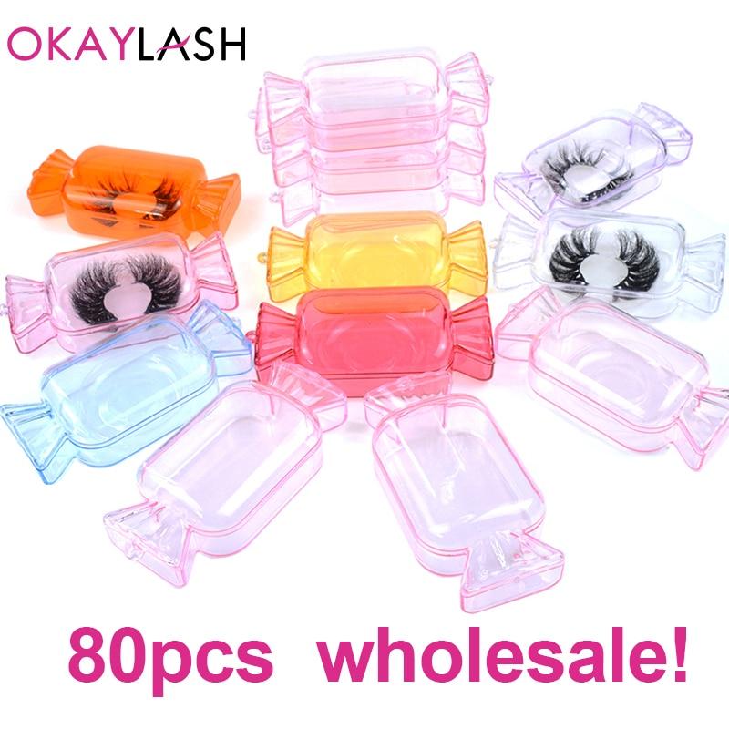 OKAYLASH 2020 New Design Wholesale False Eyelash Packaging Box Bulk Custom Logo Candy Shape Empty Acrylic Lash Package Case(China)