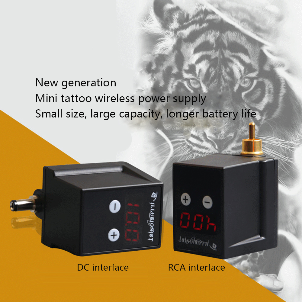 Neueste Wireless Power Versorgung Mini Tattoo Power RCA/DC Stecker Tattoo Lieferant für Tattoo Stift Maschine