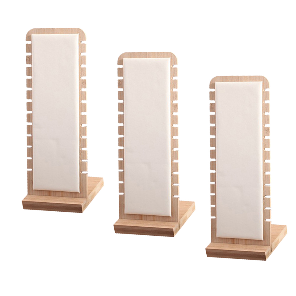 3x Modern Bamboo Necklace Jewelry Tabletop Display Boards 27x10cm