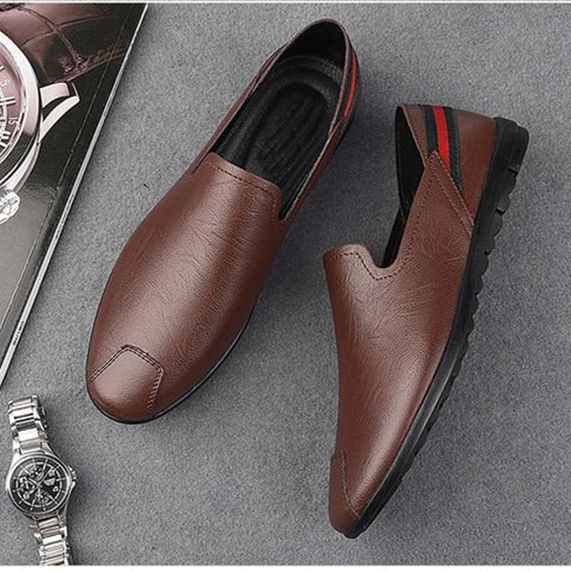 Купить с кэшбэком mens soft driving shoes Genuine pu leather shoes for men sneakers Male Adult handmade Slip On Flat Boat Shoes Man footwear