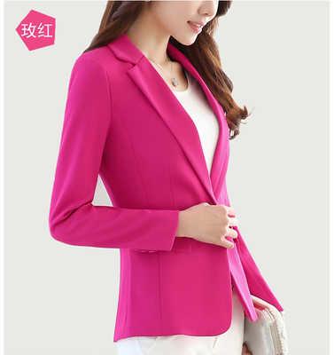Blazer Feminino Plus rozmiar 5XL krótka wąska kurtka damska do biura, długa rękaw zapinany na jeden guzik solidna kurtka damska LX93