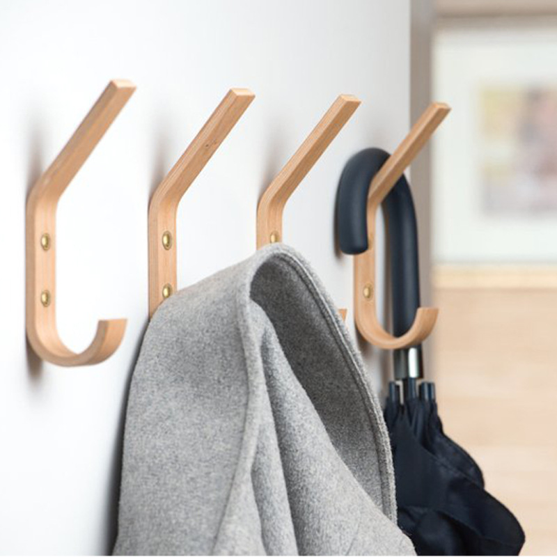Wooden Decorative Hook Solid Wood Wall Wooden Creative Coat Hook Modern Minimalist Oak Fitting Room Key Hat  Clothes Hook