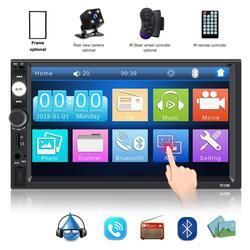 Sintonizador de radio de coche estéreo 12v 2 Din 7 pulgadas pantalla táctil Bluetooth Multimedia auto audio autoradio MP5 soporte cámara de visión trasera