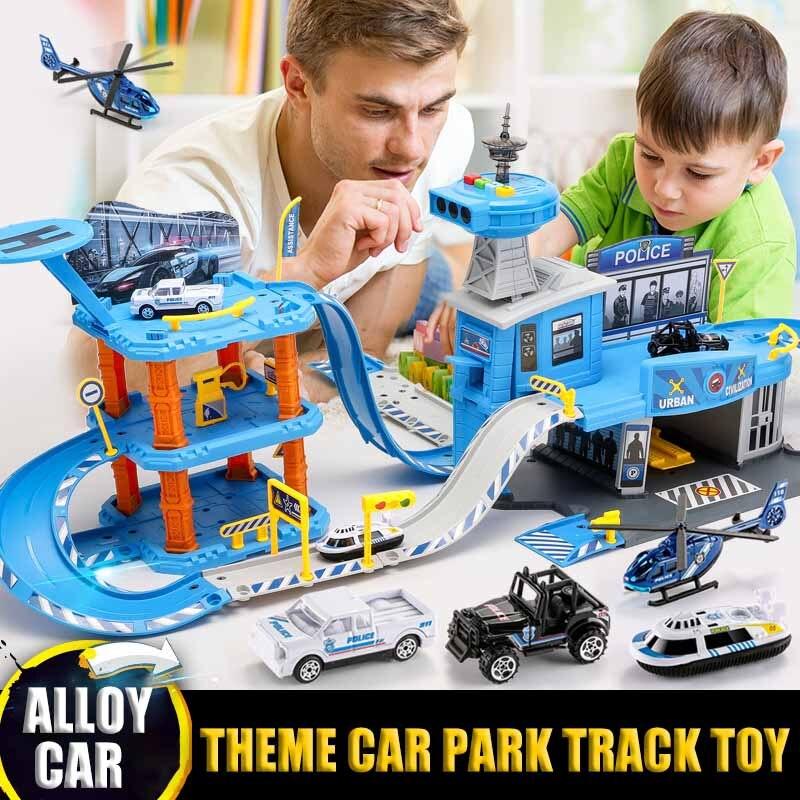 Children's Track Parking Lot Toy Set Parking Multi-car Large Project / Police /Fire Track Car Children Toys DIY Puzzle Car Model
