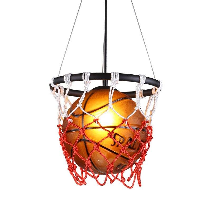 Américain rétro basket pendentif LampCreative moderne Sport chambre d'enfants lustre suspension lampe Luminaire Suspendu lumières