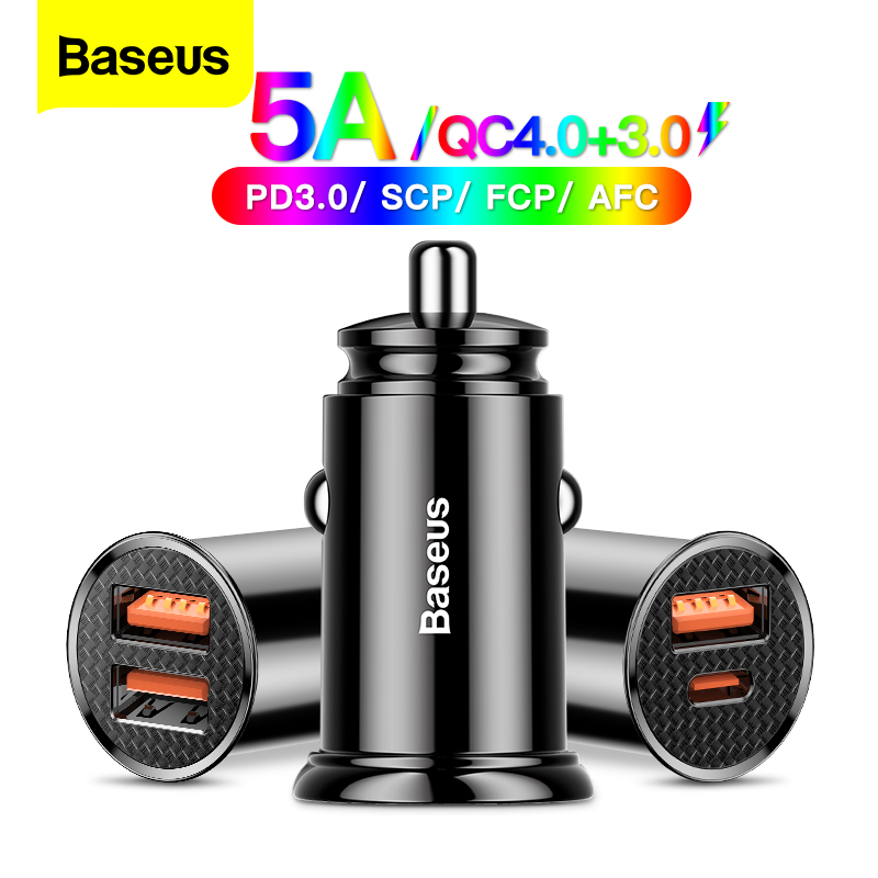 Baseus USB Car Charger Quick Charge 4.0 3.0 QC4.0 QC3.0 QC SCP 5A Type C PD Fast Car USB Charger For iPhone Xiaomi Mobile Phone(China)