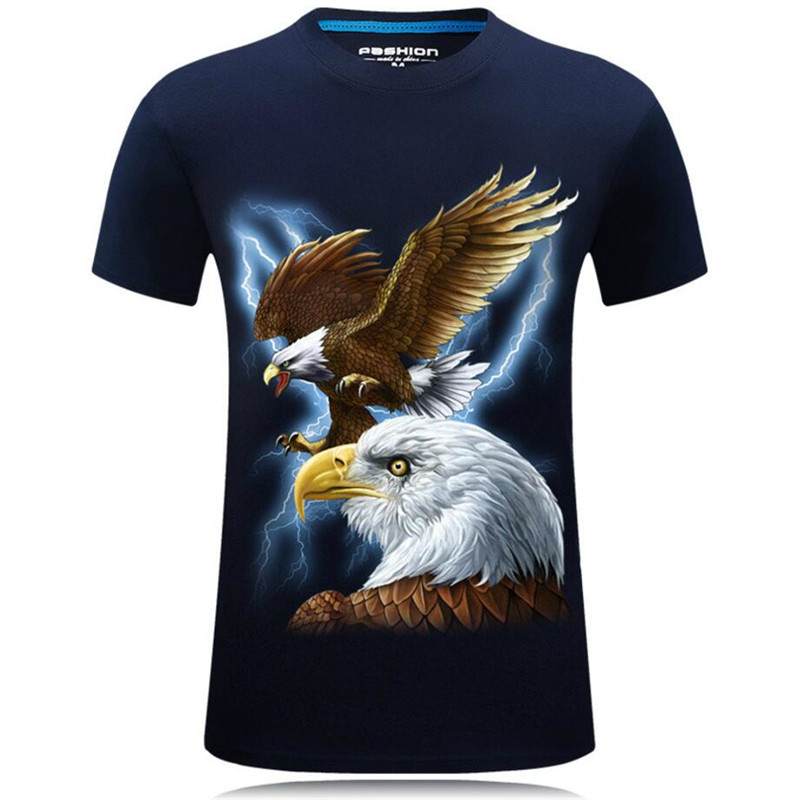 Nice Summer Fashion 3D Funny T Shirts Men Animal Printed Cotton Short Sleeve O Neck T shirts Punk Male Tops Tees Camisetas 7XL - 2