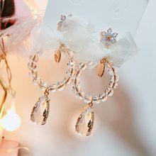 2020 модные женские висячие серьги с кристаллами в форме капли
