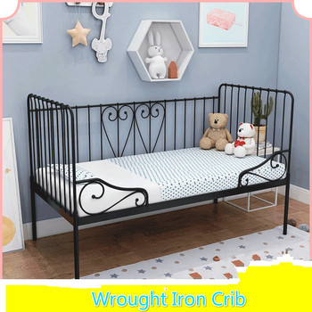 Children's Iron Metal Bed with Guardrail Boys and Girls Princess Wrought Iron Bed Stitching Widening Infant Baby Bed for Kids solid wood children beds with guardrail small infant bedside single widening and splicing kids bed