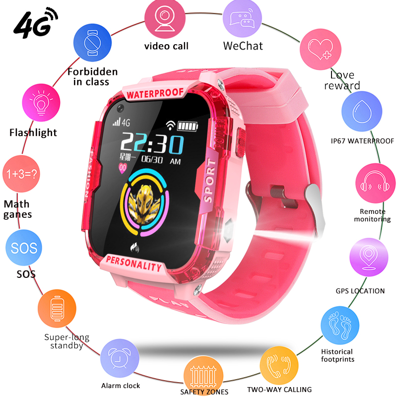 LIGE New Kid smart watches video call Childrens watch GPS location tracking Support 2G / 3G 4G SIM card SOS Safety