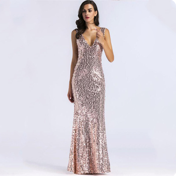Sequined Evening Dresses Long V-Neck Sleeveless Elegant Ladies Party Gowns Sexy Mermaid Formal Dresses Robe De Soiree Dubai 2020 elegant navy blue half sleeve evening dresses sequined sexy o neck abendkleider formal party long prom gowns robe de soiree