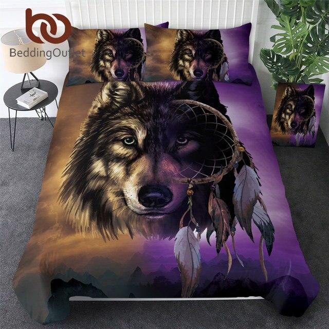 BeddingOutlet 3D Wolf Bedding Sets Luxury Dreamcatcher Duvet Cover Mountain Bed Cover Set Queen Size Purple Bedclothes Drop Ship
