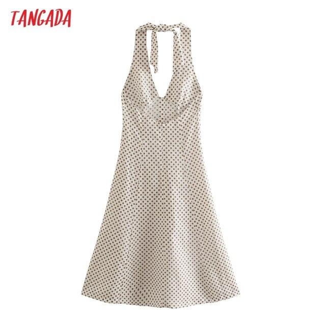 Tangada 2021 Fashion Women Dots Print Halter Dress Sleeveless Backless Buttons Female Casual Dress 5Z241 5