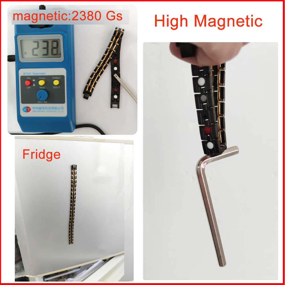 Pulseira magnética masculina, bracelete de aço inoxidável