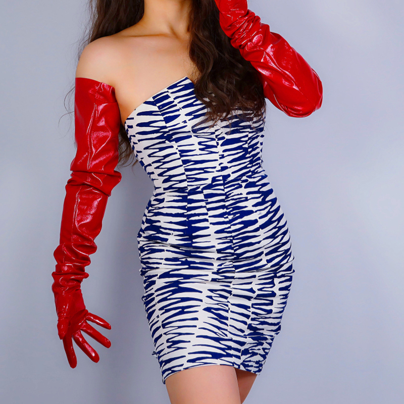 LATEX LONG GLOVES Faux Patent Leather 35