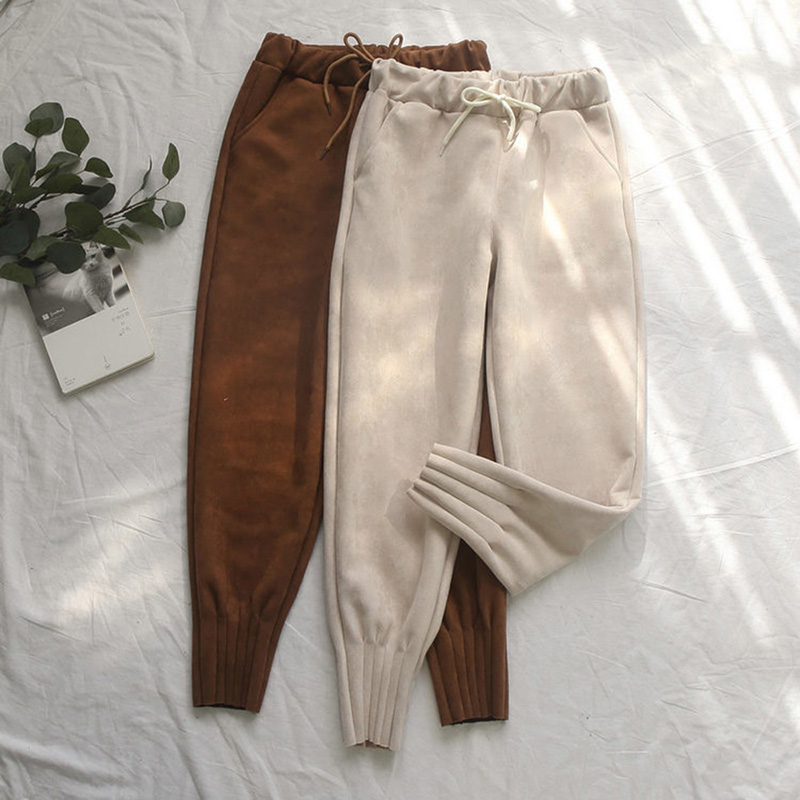 2019 Women's Suede Pants Autumn Winter Elastic High Waist Pockets Harem Trousers Casual Plus Size Cashmere Women Carrot Pants