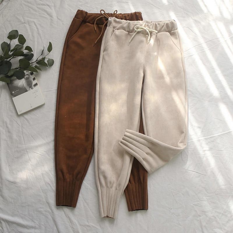 2019 Women's Suede Pants Autumn Winter Elastic High Waist Pockets Harem Trousers Casual Plus Size Cashmere Women Carrot Pants