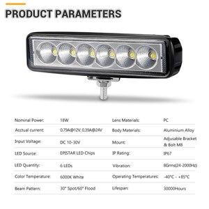 Image 2 - 6 inch 18W Offroad DRL LED Work Light Flood Beam Spotlight 12V 24V Daytime Running Light For Jeep 4x4 ATV 4WD SUV Car Styling