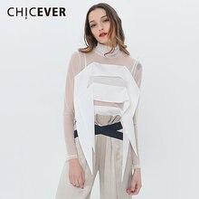 Chicever перспективная футболка для женщин Водолазка с длинным