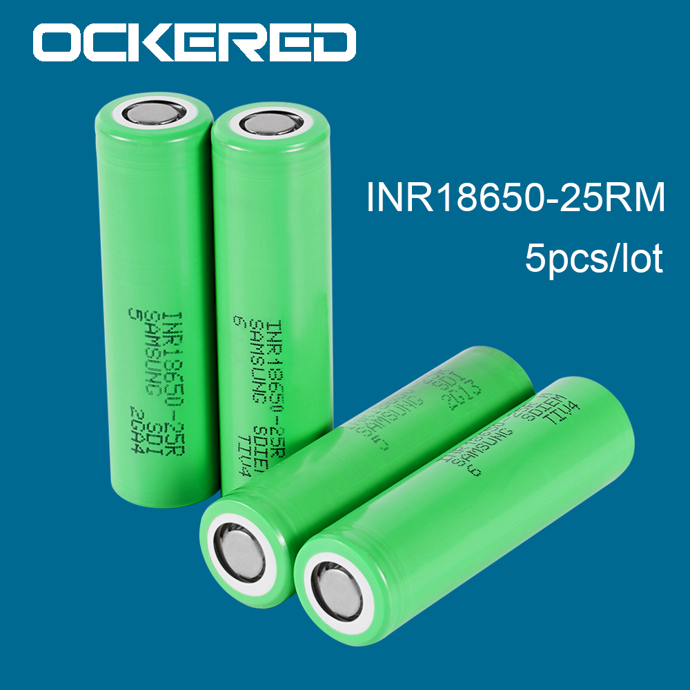 Ockered 5pcs/lot 2500mAh INR18650 25R 18650 Rechargeable Battery for samsung 18650 for Electronic Cigarette Flashlight Batteries image