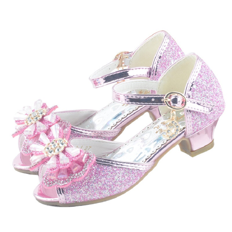 2020 New Princess Summer Party Children Crystal Bow Little Girl Heels Big Kids Leather Sandals 3 4 5 6 7 8 9 10 11 12 Year Old