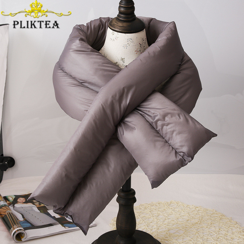PLIKTEA Korean Thick Warm Coffee Winter Down Ring Scarf For Women Gray Brown Woman Scarves For The Neck Circle Children's Scarf