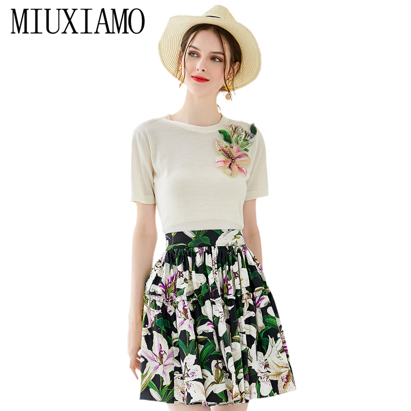 MIXIMAO 2019 Fall 2 Piece Set Women O-Neck Half Sleeve Blouse + Lily Flower Print Dress Suit Women Suits Lady Suit Office