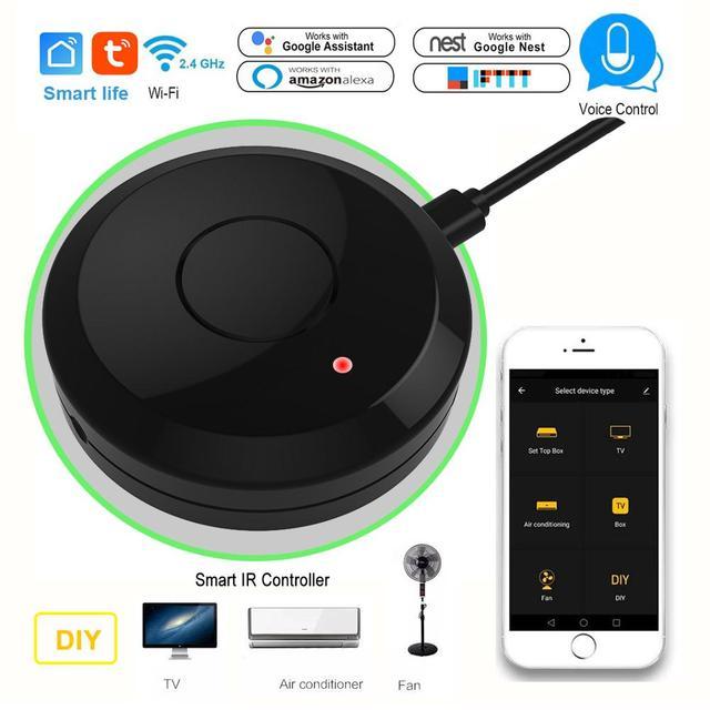 Tuya casa inteligente wifi ir controle remoto de voz ar condicionado caixa tv via alexa google sem fio universal ir controlador