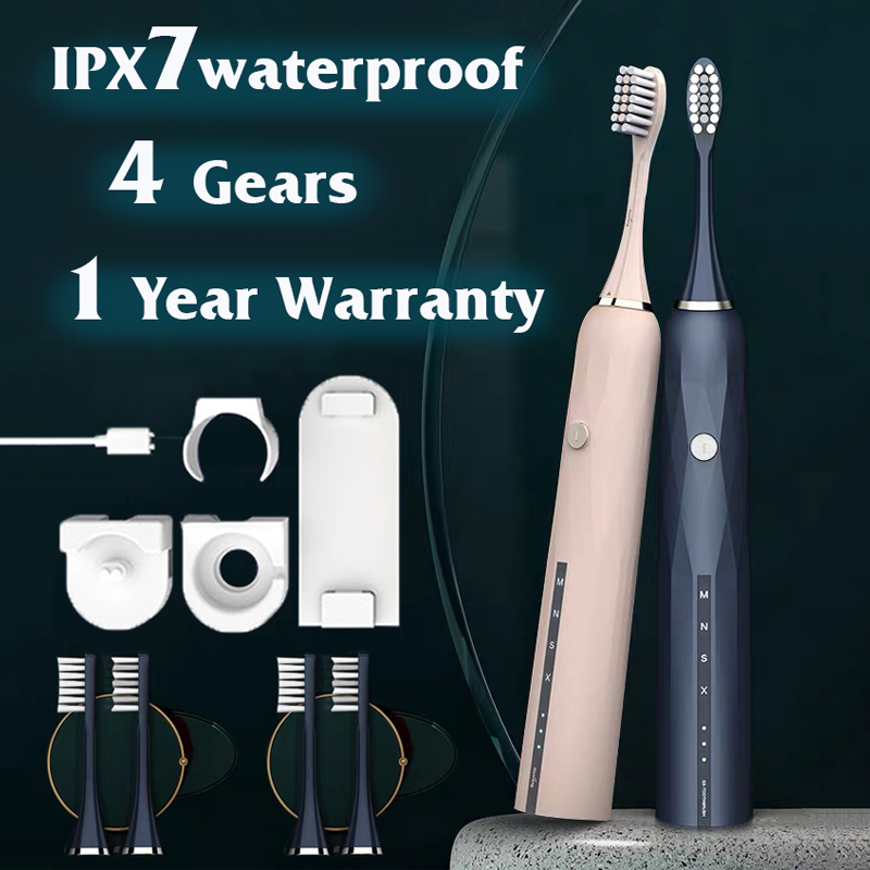 Electric Toothbrush Sonic Wave Rechargeable Toothbrush Replacement Head Adult Caring IPX7 Waterproof Whitening For Couple