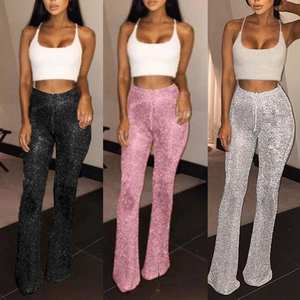 Drawstring Pants Leggings Disco-Trouser Bell Bottom Flared Glitter Sequins High-Waist