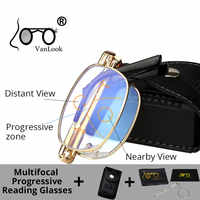 Vanlook progressivo multifocal dobrável óculos de leitura computador dobrável anti azul ray men women sight clear + 1 1.5 2 2.5 3 3.5 4